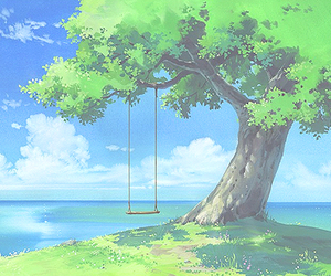 anime, tree, and scenery image