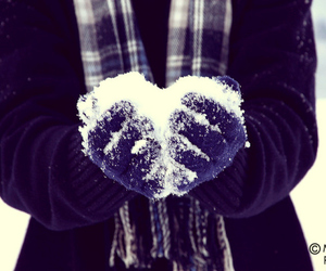 snow, heart, and cold image