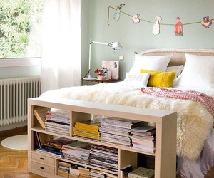 bedroom, bookcase, and books image