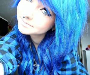blue hair, blue, and piercing image