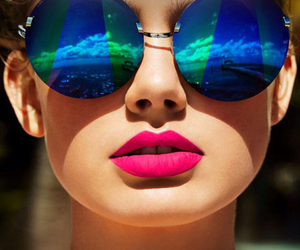 sunglasses, lips, and summer image