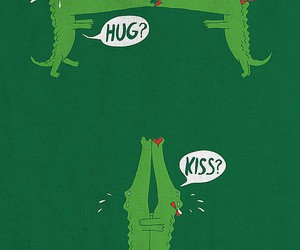 hug, kiss, and crocodile image