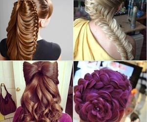 braid, hairstyle, and purple hair image