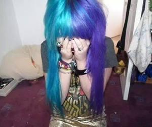 hair, blue hair, and blue image