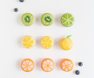 macaroons, food, and fruit image