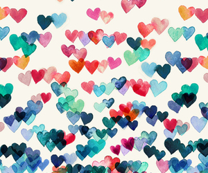colors, girl, and hearts image