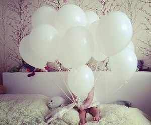baby, balloons, and home image
