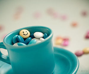 smile, blue, and cup image
