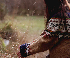 girl, nature, and sweater image