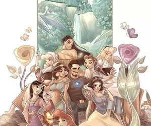 disney princess, iron man, and Marvel image