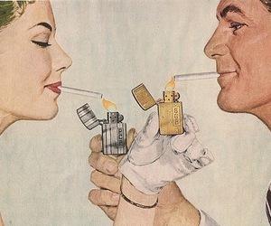 cigarette, smoke, and couple image