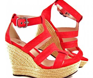 red, wedges, and cute image
