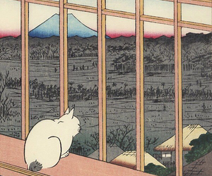 cat, japan, and classical japanese art image