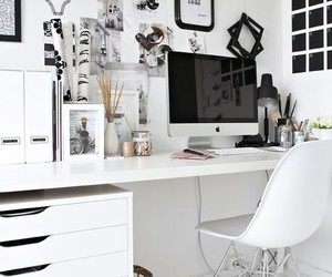 white, desk, and room image