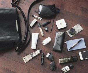 black, purse, and whats in my bag image