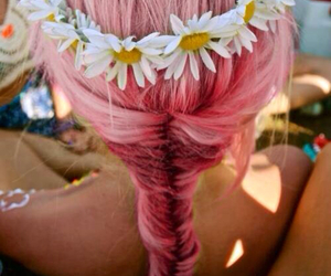 dyed hair, flower crown, and pink hair image