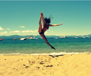 beach, summer, and jump image