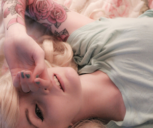 girl, tattoo, and rose image
