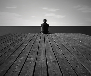 alone, lonely, and sea image