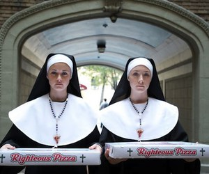alexis bledel, nun, and pizza image