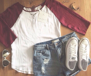 converse, outfit, and shorts image