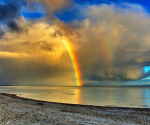 beach, clouds, and landscapes image