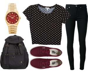 outfit, vans, and watch image