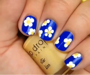 floral, nails, and yellow image