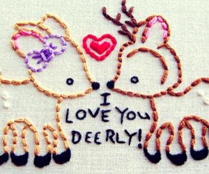 cute, deer, and love image
