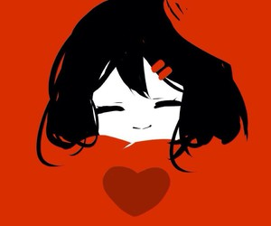 anime, heart, and red image