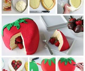 cake, diy, and strawberry image