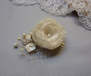 hair accessories, hair flower, and sea shell image