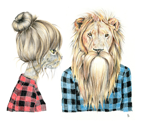 lion, cat, and hipster image