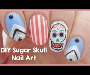 geometric, skull, and cool nails image