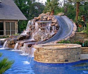 pool, house, and slide image