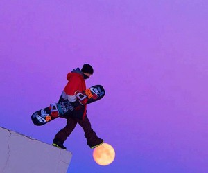 moon, snowboard, and awesome image