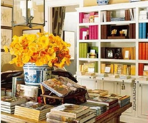 books, yellow, and flowers image
