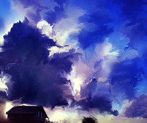 art, clouds, and house image