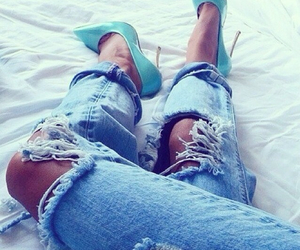 jeans, fashion, and heels image