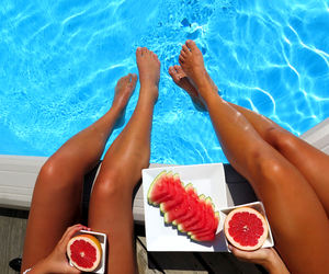 summer, fruit, and pool image