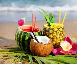 beach, drink, and fruit image