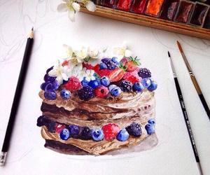 art, cake, and berries image