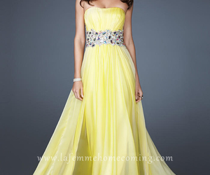 yellow prom dresses, la femme dresses, and long yellow dresses image