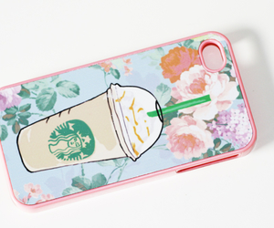starbucks, flowers, and case image