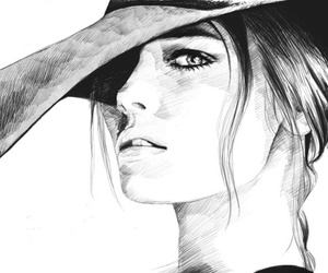 girl, black and white, and hat image