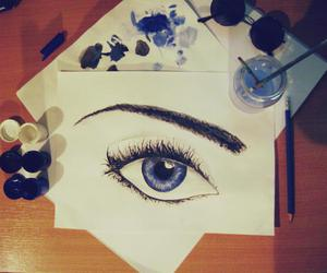 drawing, eyes, and blue image