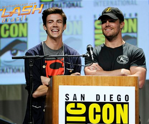 grant gustin, the flash, and stephen amell image