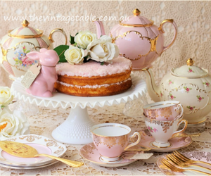 cake, shabby chic, and teacups image