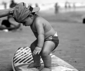 baby, surf, and beach image