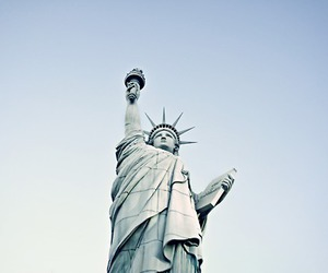 blue, statue of liberty, and new york image